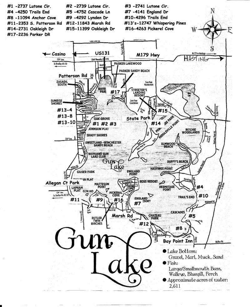 Gun Lake Cottage Rentals Cottage Location Around Gun Lake